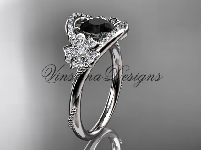 14kt white gold diamond Cherry Blossom flower, Sakura engagement ring Black Diamond VD8326
