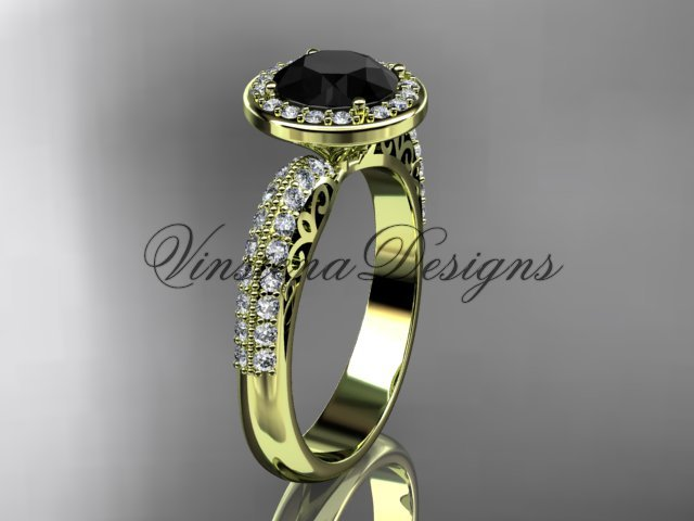 14kt yellow gold diamond Fleur de Lis engagement ring, Black Diamond VD10057
