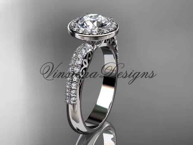 """Platinum diamond Fleur de Lis engagement ring, """"Forever One"""" Moissanite VD10057"""
