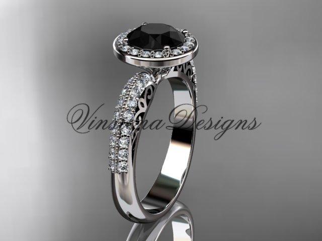 Platinum diamond Fleur de Lis engagement ring, Black Diamond VD10057