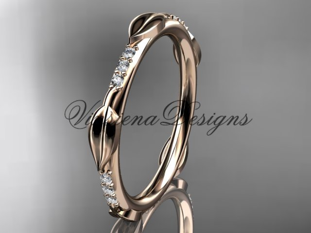 14k rose gold diamond leaf wedding band VD10061