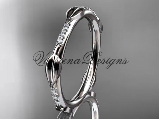 Platinum diamond leaf wedding band VD10061