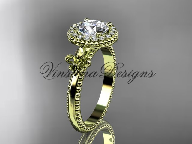 14kt yellow gold diamond Fleur de Lis engagement ring VD10063