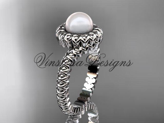 Platinum diamond, pearl engagement ring VP1006