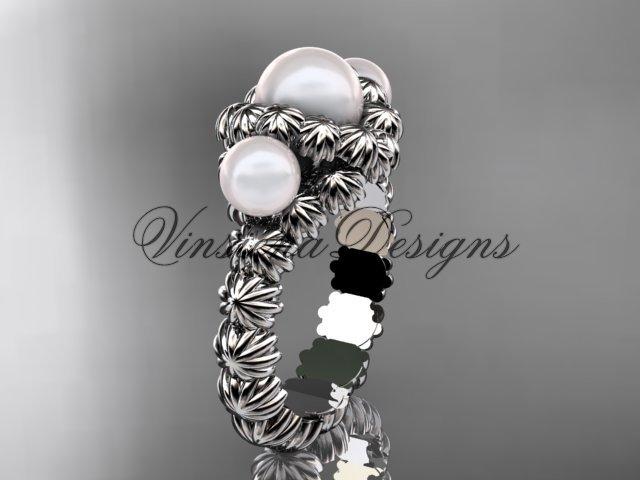 Platinum diamond, pearl engagement ring VP1007