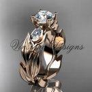 """14k rose gold leaf and vine, tulip flower engagement ring, """"Forever One"""" Moissanite VD10049"""