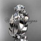 """Platinum leaf and vine, tulip flower engagement ring, """"Forever One"""" Moissanite VD10049"""