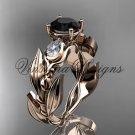 14k rose gold leaf and vine, tulip flower engagement ring, Black Diamond VD10050