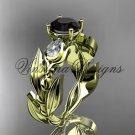14k yellow gold leaf and vine, tulip flower engagement ring, Black Diamond VD10050