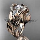 """14kt rose gold diamond, leaf and vine, engagement ring, """"Forever One"""" Moissanite VD10051"""