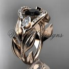 14kt rose gold diamond, leaf and vine, tulip flower engagement ring, Black Diamond VD10051