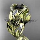 14kt yellow gold diamond, leaf and vine, tulip flower engagement ring, Black Diamond VD10051