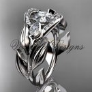 "14kt white gold diamond, leaf and vine,  engagement ring, ""Forever One"" Moissanite VD10051"