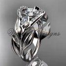 """Platinum diamond, leaf and vine, tulip flower engagement ring, """"Forever One"""" Moissanite VD10051"""