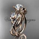 """14kt rose gold diamond, leaf and vine,  engagement ring, """"Forever One"""" Moissanite VD10052"""