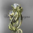 "14kt yellow gold diamond, leaf and vine,  engagement ring, ""Forever One"" Moissanite VD10052"