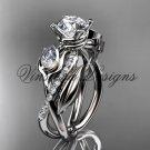 """14kt white gold diamond, leaf and vine, engagement ring, """"Forever One"""" Moissanite VD10052"""