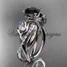 14kt white gold diamond, leaf and vine, engagement ring, Black Diamond VD10052