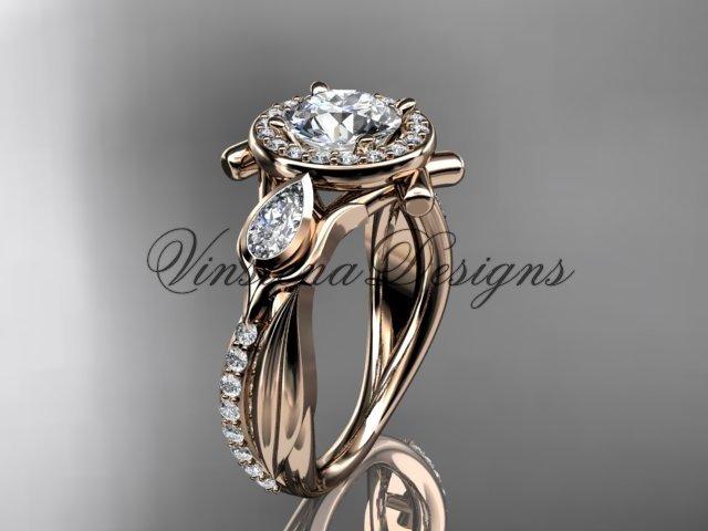 """14kt rose gold diamond leaf and vine,  engagement ring, """"Forever One"""" Moissanite VD10053"""