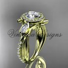 "14kt yellow gold diamond leaf and vine, engagement ring, ""Forever One"" Moissanite VD10053"