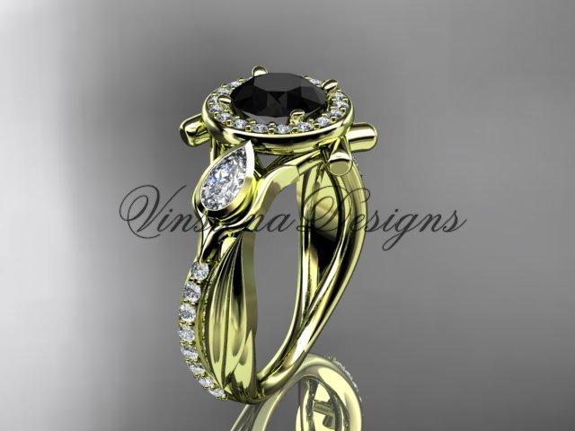 14kt yellow gold diamond leaf and vine, tulip flower engagement ring, Black Diamond VD10053