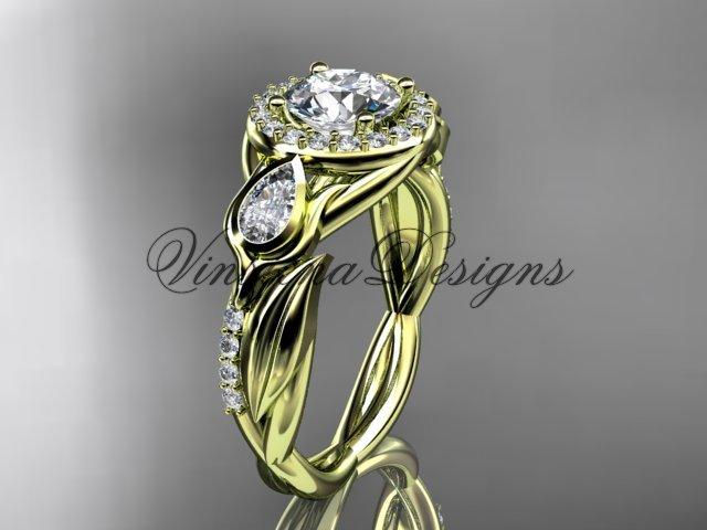 "14kt yellow gold diamond leaf and vine,  engagement ring, ""Forever One"" Moissanite VD10054"