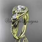 "14kt yellow gold diamond leaf and vine,  engagement ring, ""Forever One"" Moissanite VD10054"