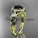 14kt yellow gold diamond leaf and vine, tulip flower engagement ring, Black Diamond VD10054