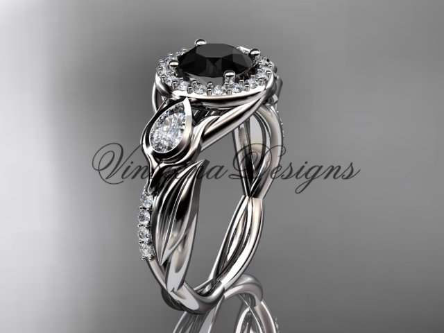 14kt white gold diamond leaf and vine, tulip flower engagement ring, Black Diamond VD10054