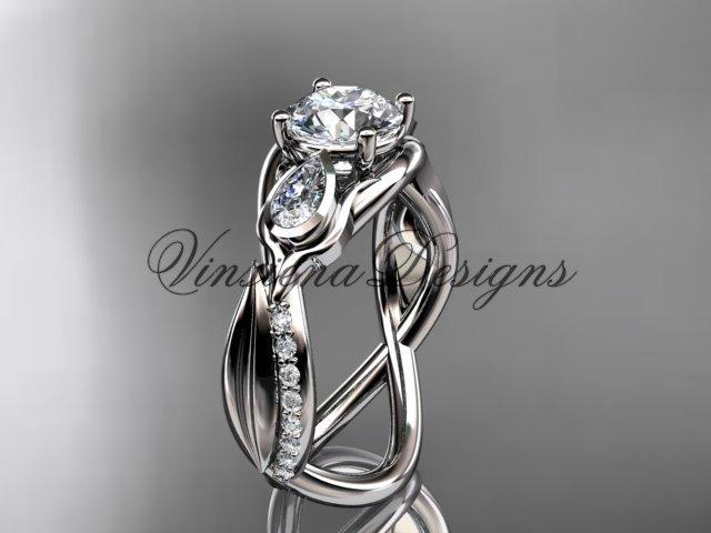 """14kt white gold diamond leaf and vine, engagement ring, """"Forever One"""" Moissanite VD10056"""