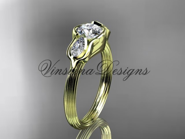 "14kt yellow gold leaf and vine, tulip flower engagement ring, ""Forever One"" Moissanite VD10059"