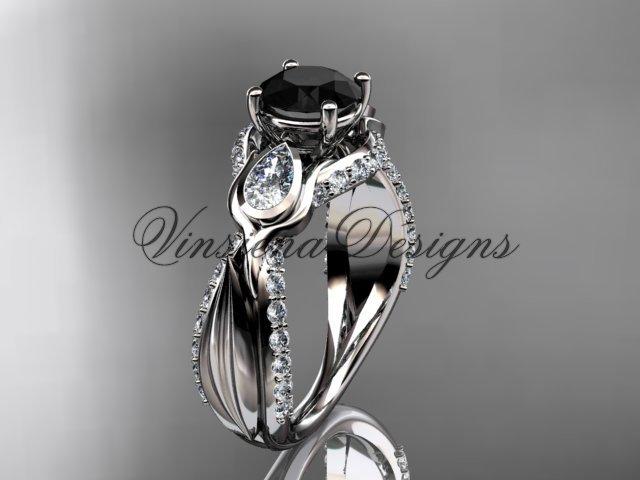 14kt white gold diamond leaf and vine, tulip flower engagement ring, Black Diamond VD10060