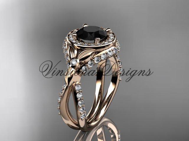 14kt rose gold leaf and vine, flower engagement ring, Black Diamond VD10065