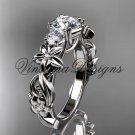 """14k white gold Three stone engagement ring,""""Forever One"""" Moissanite VD10066"""