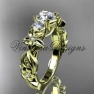 """14k yellow gold Three stone engagement ring,""""Forever One"""" Moissanite VD10066"""