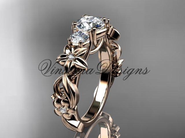 """14k rose gold Three stone engagement ring,""""Forever One"""" Moissanite VD10066"""