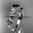 platinum Three stone engagement ring, Black Diamond VD10066