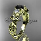 14kt yellow gold Three stone engagement ring, Black Diamond VD10066