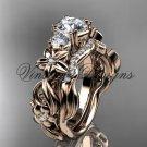 """14k rose gold Three stone engagement ring set,""""Forever One"""" Moissanite VD10066S"""