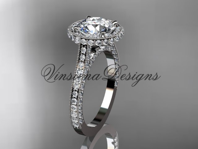 """platinum diamond wedding ring, engagement ring, """"Forever One"""" Moissanite VD10074"""