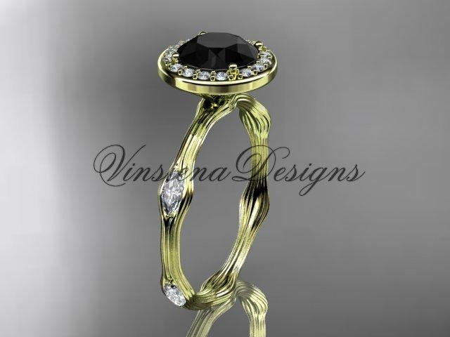 14k yellow gold leaf and vine engagement ring, Black Diamond VD10075