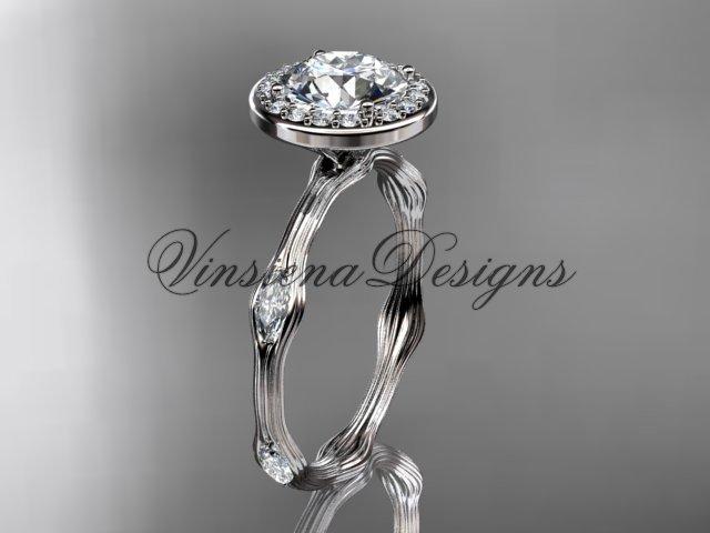platinum leaf and vine engagement ring VD10075