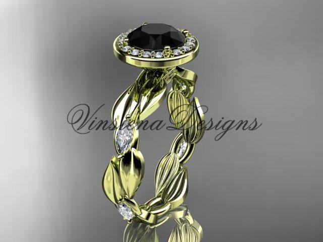 14k yellow gold leaf and vine engagement ring, Black Diamond VD10076