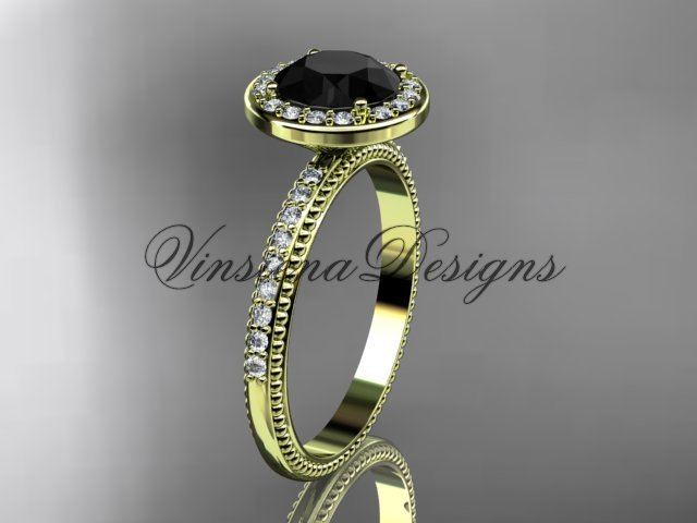 14kt yellow gold engagement ring Black Diamond VD10077