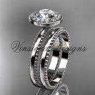 14k white gold engagement ring, wedding set Moissanite VD10078S