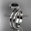 14kt white gold engagement ring, wedding set Black Diamond VD10078S