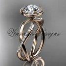 14kt rose gold diamond engagement ring,  Moissanite VD10079