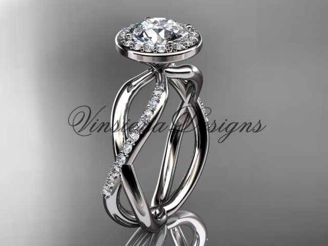 """14kt white gold diamond engagement ring, """"Forever One"""" Moissanite VD10079"""