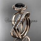 14kt rose gold diamond engagement ring, wedding band, engagement set, Black Diamond VD10079S