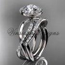 14kt white gold diamond engagement ring, wedding band, engagement set,  Moissanite VD10079S